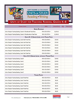 Order Form: K-8 Reading Units of Study