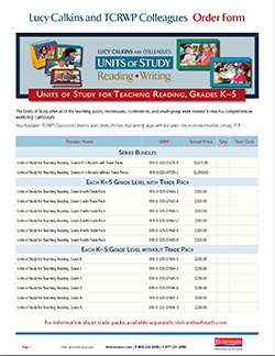 Order Form: K-5 Reading Units of Study