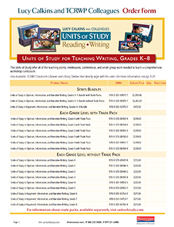 Order Form: K-8 Writing Units of Study