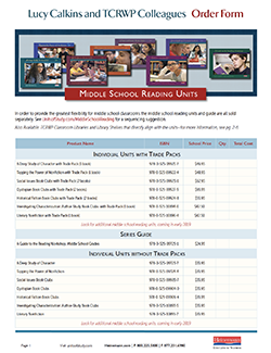 Order Form: Middle School Reading Units of Study